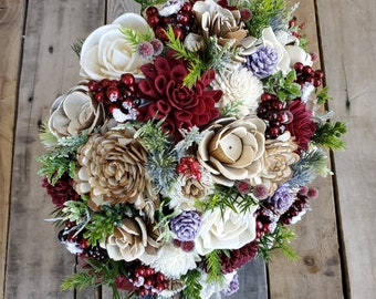 Christmas Inspired Wood Flower Bouquet with Pine Cones and Wood Flowers in Burgundy, Cream, and Bark, bridal bouquet, bridesmaid bouquet