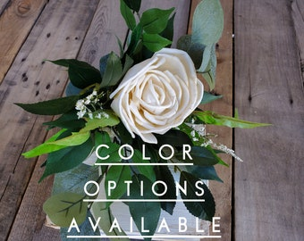 Single Wood Flower Bouquet with Premium Greenery, Bridesmaid, Flower Girl, Mother of the Bride, Mother of the Groom, Eucalyptus