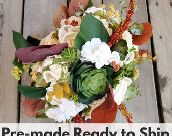 Fall Bridal Bouquet with Cream Wood Flowers, Artificial Succulents, Silk Hydrangea, Eucalyptus, Wood Flower Bouquet