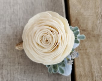 READY TO SHIP Cream Wood Flower Boutonniere with Lambs Ear Leaves and Slate Gray Baby's Breath, Groom, Groomsmen, Father of the Bride