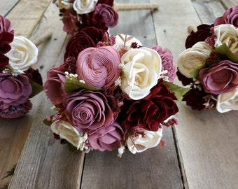 Burgundy, Mauve, and Pink Wood Flower Bridesmaid Bouquet