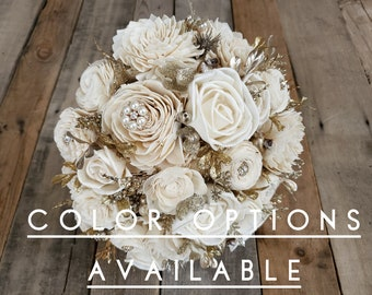 Gold Brooch and Glitter Wood Flower Bouquet, mulitple colors available