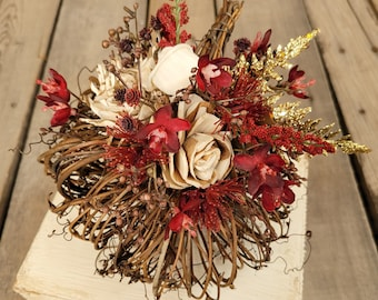 Fall Pumpkin with Wood Flower Floral Arrangement in Cream and Bark with Burgundy and Gold Accents, Home Decor, Twig Pumpkin, Centerpiece