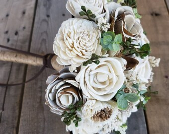 Rustic Wood Flower Bouquet with Wood Flowers in Cream and Bark, Eucalyptus, Bride, Bridesmaid, Flower Girl