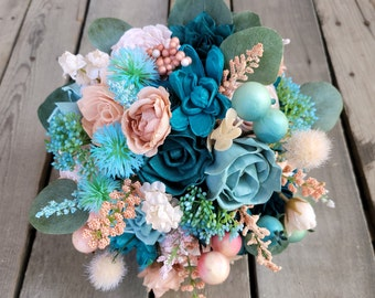 READY TO SHIP Fun Colorful Teal, Dark Teal, Peachy, Light Pink, and Robins Egg Blue Wood Flower Bridal Bouquet with Silver Dollar Eucalyptus