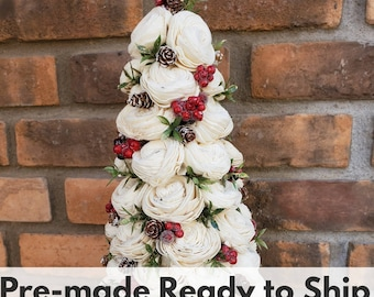Sola Wood Flowers Classic Wood Flower Christmas Tree with Gold Tipped Greenery, Pine Cones and Red Berries