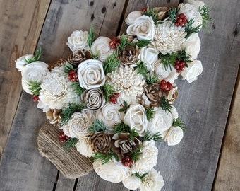 READY TO SHIP Country Christmas Inspired Wood Flower Christmas Tree