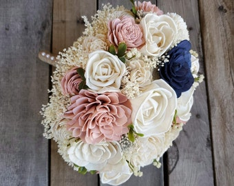 Navy and Blush Wood Flower Bouquet with Baby's Breath, Bridal Bouquet, Bridesmaid Bouquet, Flower Girl, Rustic Wedding