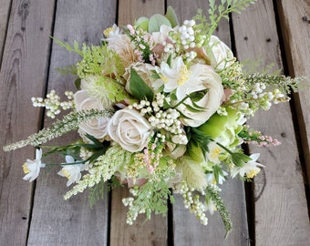READY TO SHIP Light Pink Hydrangea, Green Peonies, and Cream Wood Flower Bouquet with Fern, Bridal Bouquet, Bouquet, Wedding Flowers