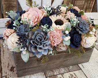 Wood Flower Centerpiece Arrangement