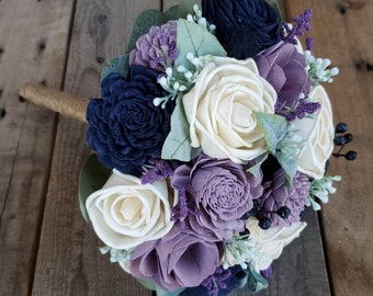 Dusty Lavender Navy Blue, and Cream Wood Flower Bouquet with Silver Dollar Eucalyptus and Dusty Miller, Bridal, Bridesmaid, Flower Girl