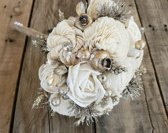 READY TO SHIP Gold Brooch and Glitter Wood Flower Bouquet