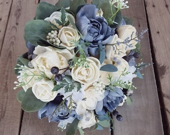 Sola Flower Bouquet Wood Flower Bouquet Slate Blue Wedding Silver Dollar Eucalyptus Dried Flower Thistle Bouquet Sola Wood Flowers