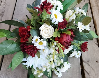 READY TO SHIP Natural Style Cream Wood Flower and Red Burgundy and White Silk Flower Bouquet, Bridal Bouquet, Eucalyptus