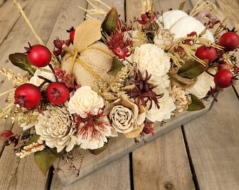 Fall Floral Arrangement with Wood and Burlap Flowers, Sweater Pumpkin, Burlap Pumpkin, Crab Apples, and Wheat, Centerpiece Box, Flower Box