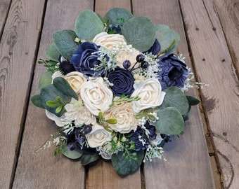 READY TO SHIP Navy Blue and Cream Wood Flower Bouquet with Silver Dollar Eucalyptus, Bridal Bouquet, Elopement, Wedding
