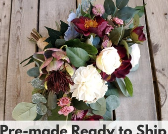 Sola Wood Flowers Burgundy Wine Magnolia, Champagne Rose, and Wood Flower Natural Style Bouquet with Burgundy Artichoke, Bridal Bouquet,