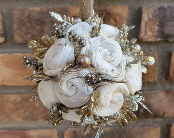 Wood Flower Kissing Ball with Gold Glitter Accents and a Gold Glitter Ribbon