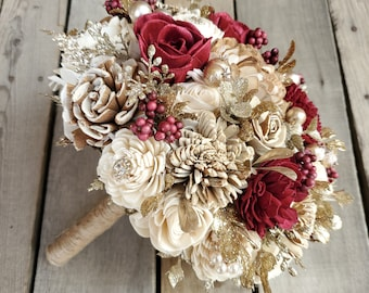 READY TO SHIP Burgundy Bark and Cream Gold Brooch and Glitter Wood Flower Bouquet for bride or bridesmaid