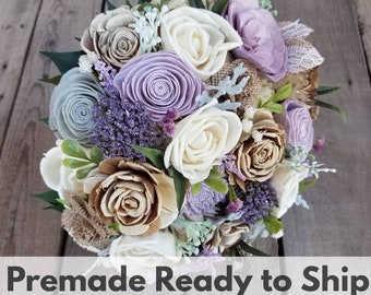 Sola Flower Bouquet Wood Flower Bouquet Dusty Lavender Wedding Dried Flower Bouquet Fake Flower Bouquet Burlap Flowers Ready to Ship