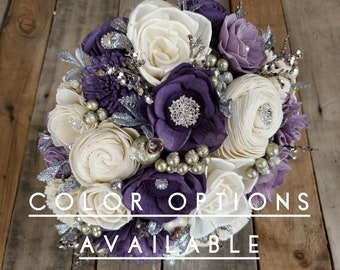 Silver Brooch and Glitter Wood Flower Bouquet, mulitple colors available, bridal bouquet, bridesmaid bouquet, flower girl bouquet