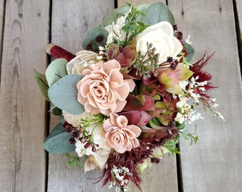 READY TO SHIP Burgundy, Blush, and Cream Wood Flower Bouquet with Burgundy and Blush Artificial Succulents, Bridal Bouquet, Eucalyptus