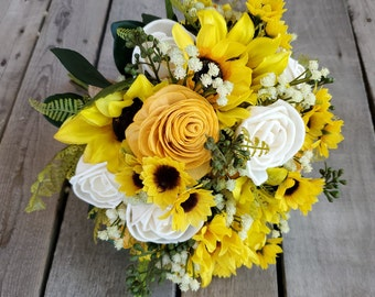 READY TO SHIP Sunflower and Rose Wood Flower Bouquet, Baby's Breath, Eucalyptus, Sunflower Bouquet, Bridal Bouquet, Bride