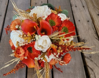 READY TO SHIP Fall Wood Flower Bouquet with Calla Lilies, Daisies, Wheat, Rice Flowers, Baby's Breath, Bridal Bouquet, Elopement