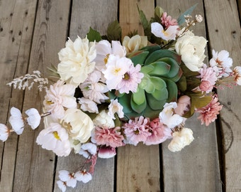 READY TO SHIP Asymmetrical Artificial Succulent Bouquet with Cream Wood Flowers, Light Pink, and Blush Silk Flowers, Bridal Bouquet