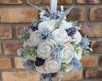 Winter Inspired Wood Flower Kissing Ball