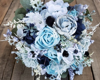 Premium Navy Blue, Ice Blue, and Dusty Blue Wood Flower Bouquet with Silk Anemones, Silver Dollar Eucalyptus, Dusty Miller, Bride Bridesmaid