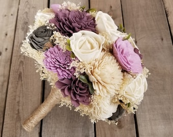 Purple Mulberry, Lavender and Charcoal Gray Wood Flower Bouquet with Baby's Breath and Gold Accents, Bridal Bouquet, Bridesmaid Bouquet