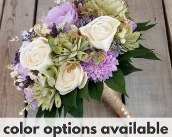 Wood Flower Bouquet with Gold Accent, Color Options, Greenery, Bridal Bouquet, Bridesmaid Bouquet, Flower Girl, Quinceanera