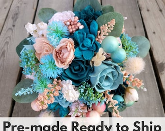 Sola Wood Flowers Wood Flower Bouquet in Teal Dark Teal Peachy Light Pink and Robins Egg Blue Bridal Bouquet Silver Dollar Eucalyptus