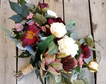 READY TO SHIP Burgundy Wine Magnolia, Champagne Rose, and Wood Flower Natural Style Bouquet with Burgundy Artichoke, Bridal Bouquet,