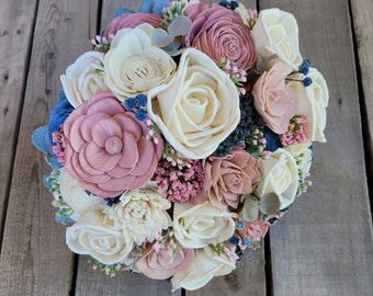 Blush Pink and Slate Blue Wood Flower Bouquet Sola Wood Flowers Bridal Bouquet Rustic Bouquet