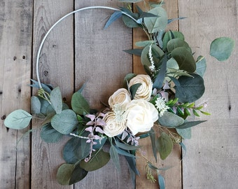 READY TO SHIP Wood Flower Hoop Bouquet with Silver Dollar Eucalyptus