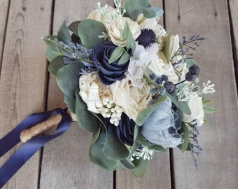 READY TO SHIP Premium Slate Blue, Navy, and Cream Wood Flower Bouquet with Eucalyptus and Navy Globe Thistle, Bridal Bouquet, Elopement