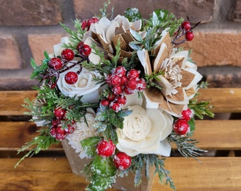 READY TO SHIP Wood Flower Christmas Inspired Floral Arrangement, Centerpiece, Home Decor, Flower Box, Wood Flowers, Christmas Decoration