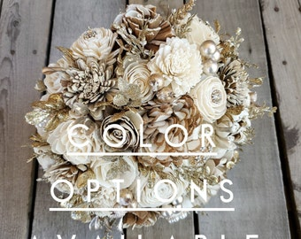 Gold Brooch Wood Flower Bouquet with Bark, Cream, and Color Choice, Gold Glitter Bouquet for bride, bridesmaid, or flower girl