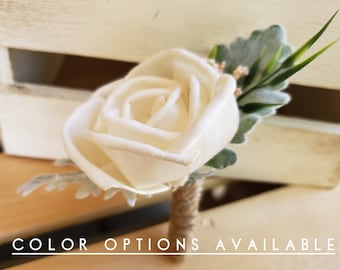 Basic Wood Rose Boutonniere with Greenery