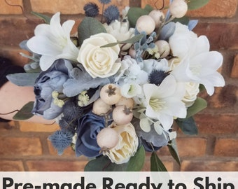 Sola Wood Flowers Slate Blue and Cream Wood Flower Bouquet with Silk Flower Lilies, Silver Dollar Eucalyptus, Bridal Bouquet, Thistle