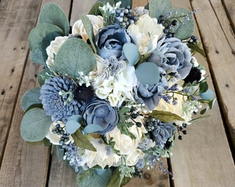 Premium Slate Blue and Cream Wood Flower Bouquet with Hydrangea, Silver Dollar Eucalyptus, Blue Eucalyptus, Dusty Miller, Navy Thistle
