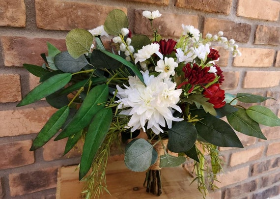 White and Red Silk Flower Bouquet