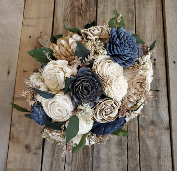 READY TO SHIP Dusty Navy and Cream Wood Flower Bouquet