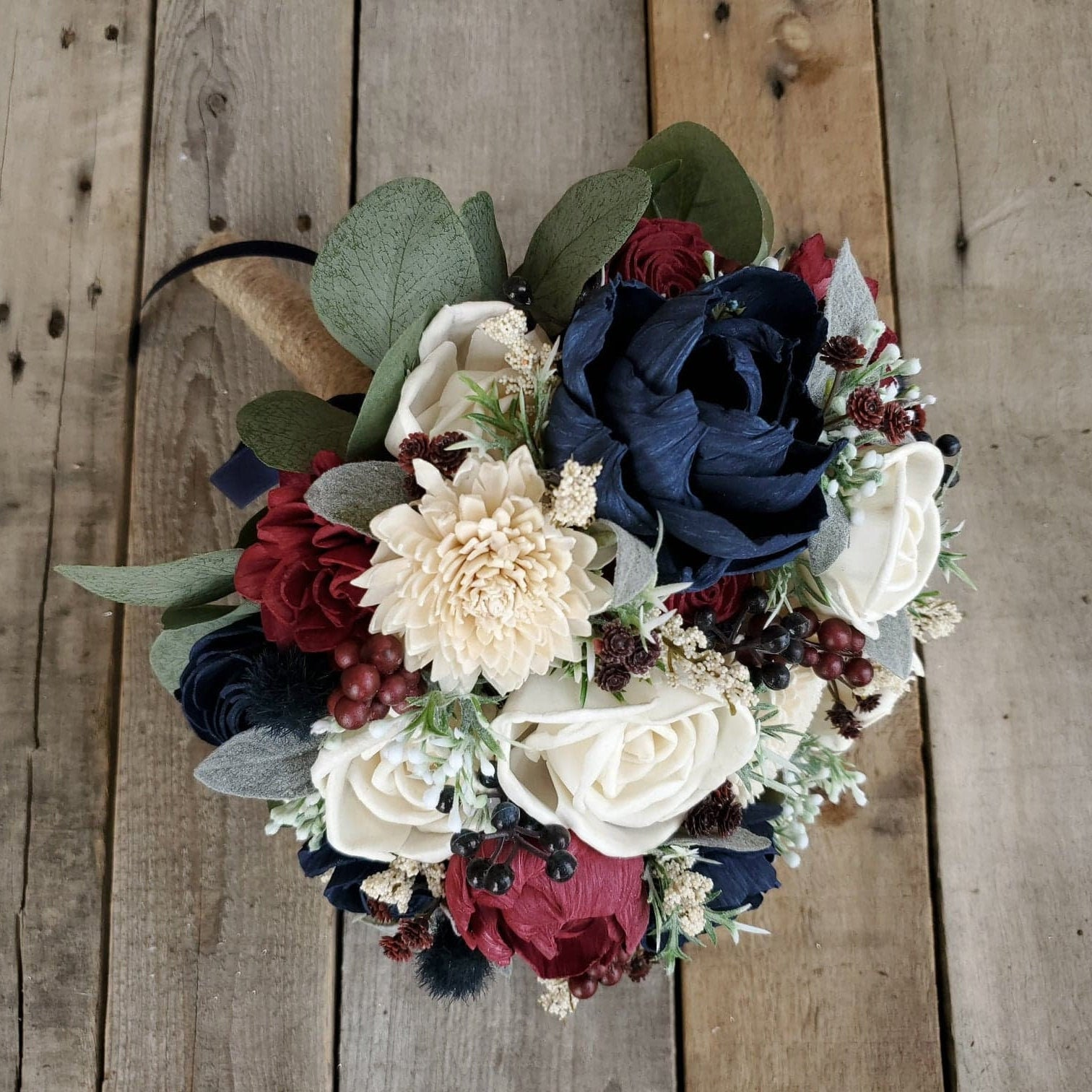 Sola Flower Bouquet Wood Flower Bouquet Navy And Burgundy Wedding Eucalyptus Wedding Dried Flower Bouquet Rustic Wedding Bouquet