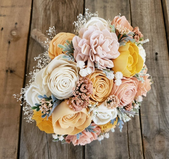 READY TO SHIP Peach and Light Pink Wood Flower Bouquet