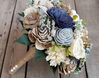 Sola Flower Bouquet Wood Flower Bouquet Navy Dusty Blue Wedding Dried Flower Bouquet Fake Flower Bouquet Sola Wood Flowers