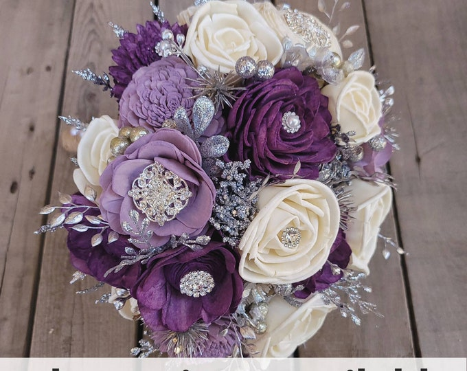 Featured listing image: Silver Brooch and Glitter Wood Flower Bouquet, mulitple colors available, bridal bouquet, bridesmaid bouquet, flower girl bouquet