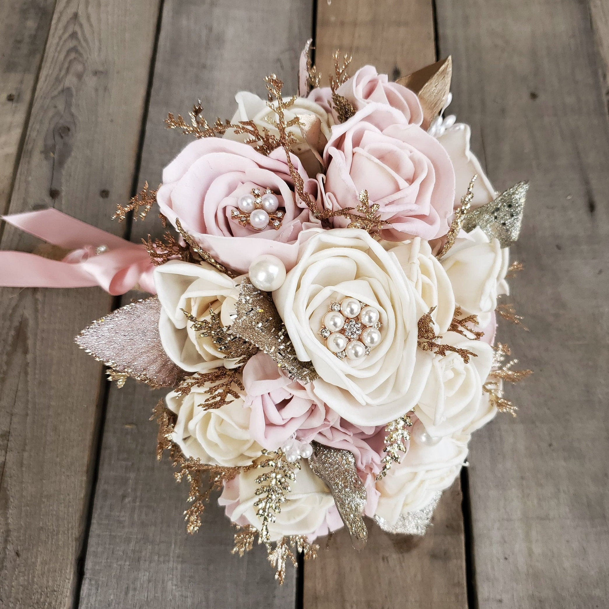 All Wood Rose Bouquet In Cream And Light Pink With Optional Feathers Brooches And Glitter Bridal Bouquet Bridesmaid Quinceanera